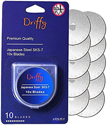 Amazon Com Driffy Rotary Cutter Blades 45mm 10 Pack Compatible With Fiskars Olfa Blades Truecut Clover And Dafa Suit Rotary Cutter Olfa Quilting Supplies