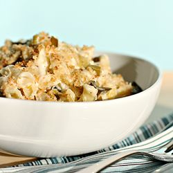 Mac and cheese with braised leeks