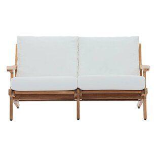 Teak Loveseat With Cushions Allmodern In 2020 Teak Outdoor Love Seat Patio Sofa