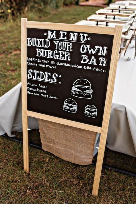 DIY homemade burger bar for backyard wedding ideas