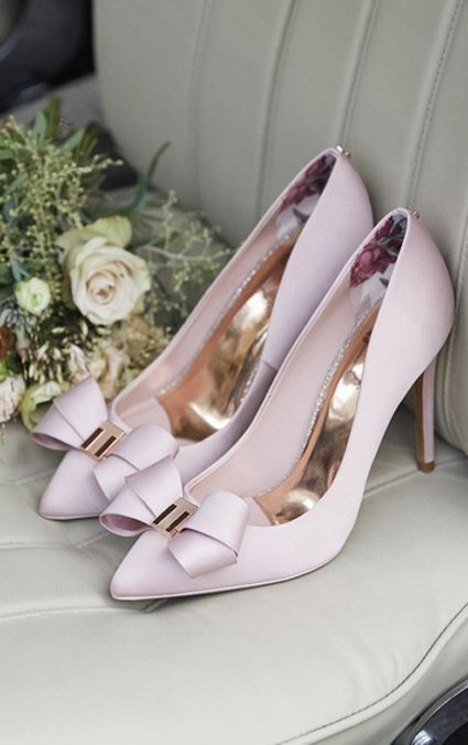 a8431943ab1 Would you wear pink shoes on your wedding day? Gorgeous blush bow peep toes