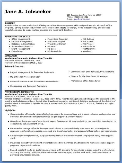 This professionally designed administrative assistant resume shows - administrative assistant job description