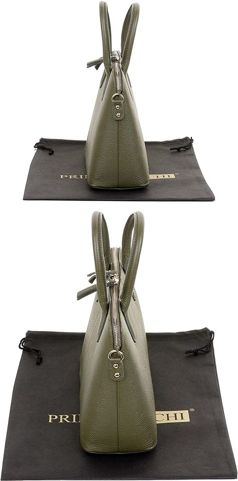 Details about  /Khaki Olive Green Studded TOTE Leather Handbag PURSE original by SHARIF