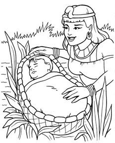 Cute Baby Moses With Mom Coloring Pages For Little Kids | Homescool ...