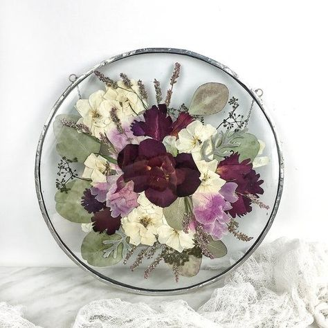 Photo of Custom Bridal Bouquet keepsake – pressed framed copy of your wedding bouquet; round frame; 1st anniv
