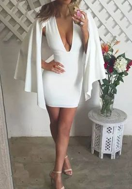 White Cut Out Backless Deep V-neck Cape Office Worker Bodycon Mini Dress - Products - Graduation Dress