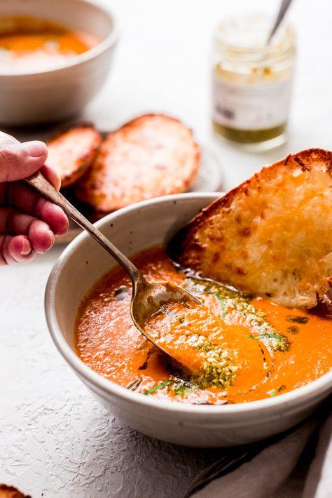 Secret Ingredient Tomato Basil Soup (No Cream) Recipe | Little Spice Jar
