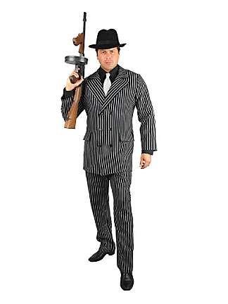 Mobster Criminal Gangster Costume Suit Black White Adult Men Pin Stripes Std-XXL