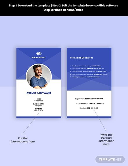Free Sample It Company Id Card Template Word Doc Psd Apple Mac Pages Google Docs Illustrator Company Id Id Card Template Cards
