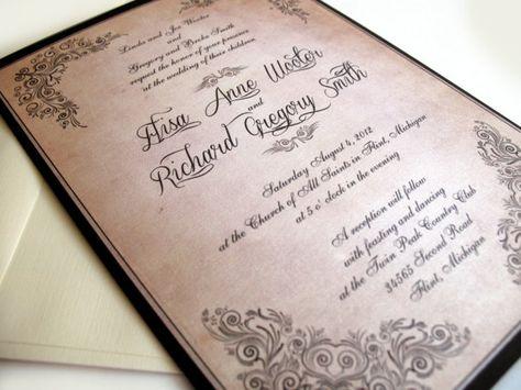 DIY PRINTABLE INVITATIONS Vintage Wedding - Brownsville Suite (invitation and rsvp postcard) by Elisa H.