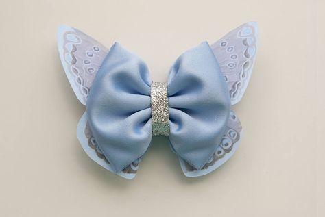 5 Medium 5cm White Glitter Iridescent Fabric Butterflies for Crafts