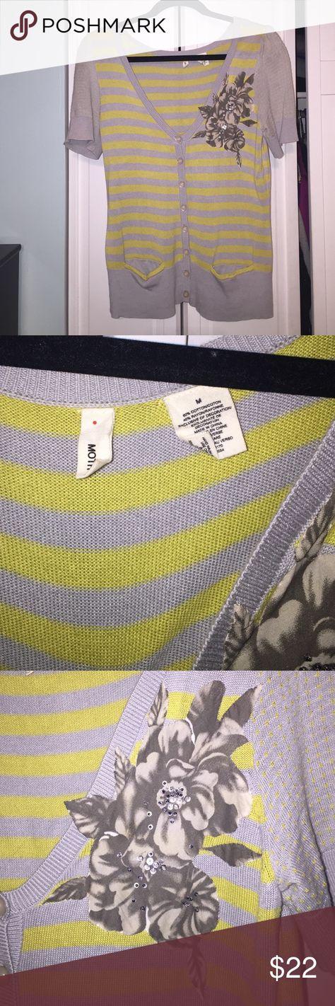 Anthropologie short-sleeved sweater Moth sweater with flower detail from Anthropologie Anthropologie Tops Tees - Short Sleeve