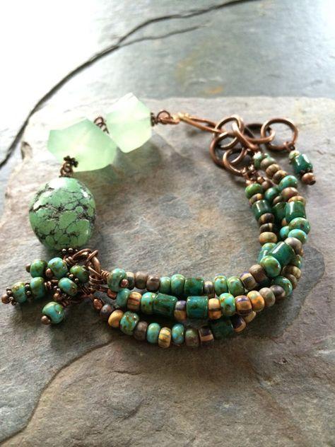 Gemstone Bracelet, Turquoise, Agate, Czech Glass Beads and Copper Bracelet Copper Bracelet, Gemstone Bracelets, Copper Jewelry, Wire Jewelry, Boho Jewelry, Beaded Jewelry, Jewelery, Jewelry Bracelets, Handmade Jewelry