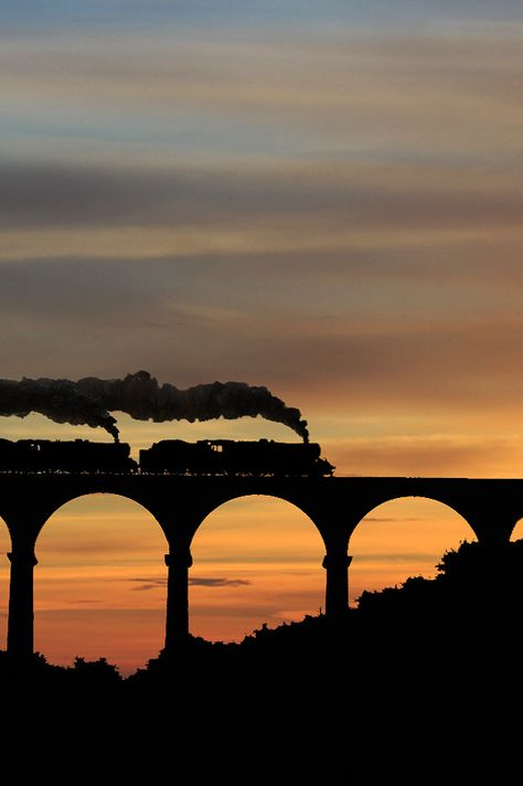 Steam trains crossing a viaduct, location unknown