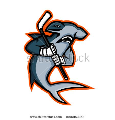 Mascot Icon Illustration Of A Hammerhead Shark Who Is A Ice Hockey Player Wielding A Hockey Stick Viewed From Si Hockey Players Ice Hockey Players Hockey Logos