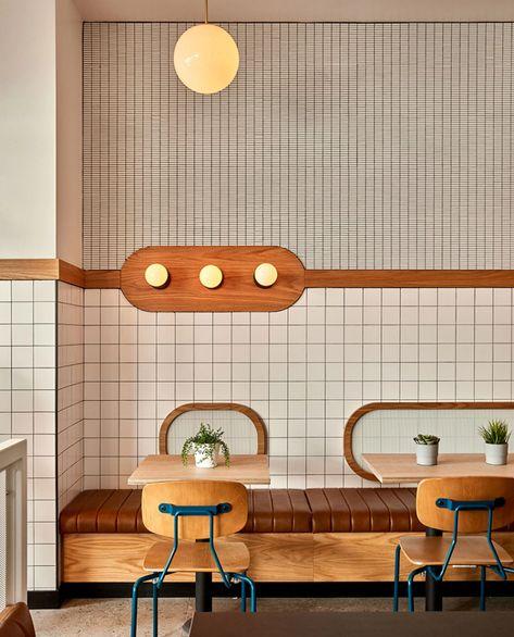 modern restaurant Inside HipCityVeg: A Dreamy Modern Diner Design Café, Cafe Design, Cafe Shop, Cafe Bar, Concept Restaurant, Retro Diner, Restaurant Interior Design, Store Interior Design, Brewery Interior