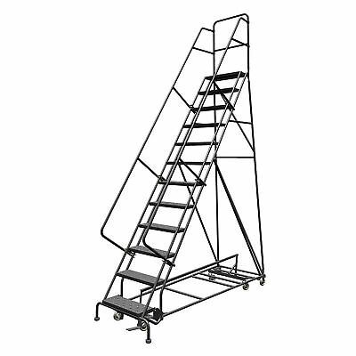 Ad Ebay 12 Step Steel Rolling Ladder W Perforated Steps 120inh Top Step 24in 450lb Cap Rolling Ladder Ladder Steel