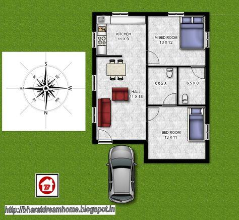 2 Bedroom Floorplan 800 Sq Ft North Facing 2bhk House Plan 800 Sq Ft House Farmhouse Floor Plans