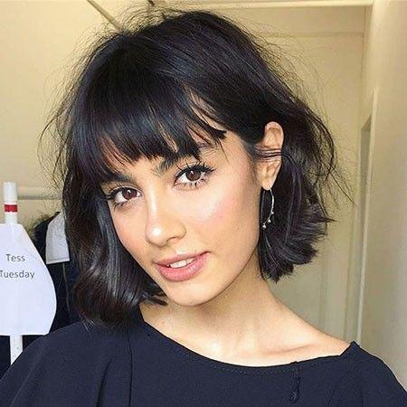 Short Hairstyle Women Brunette Bangs
