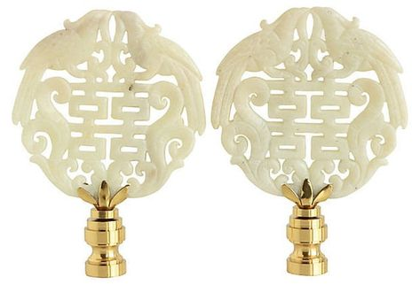Double Happiness Asian Lamp Finials In Cream On Shiny Brass Bases A Matching Pair Lamp Finial Asian Lamps Double Happiness