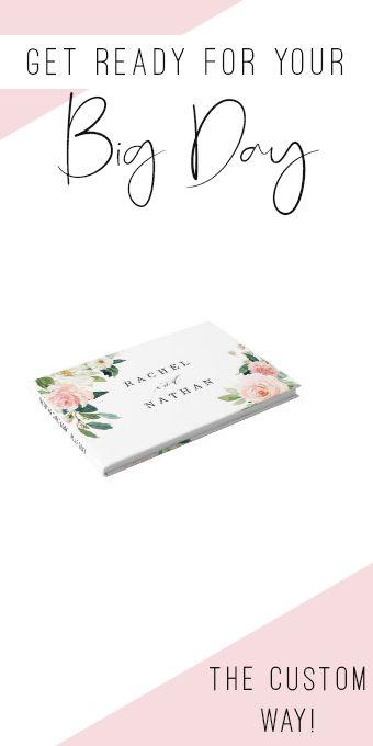 Blush White Bloom Floral Wedding Guestbook #wedding #floral #blushand #watercolor #elegant
