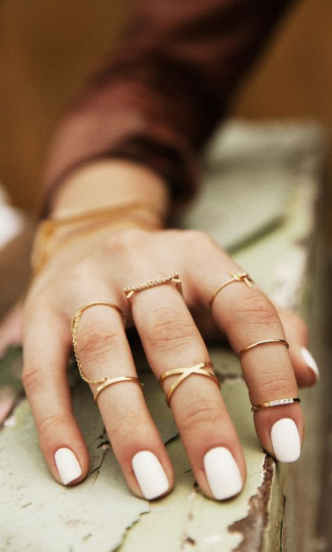 Rings + white nails
