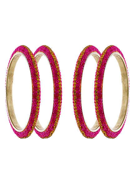 Anuradha Art Green Pink Colour Classy Traditional Bangles Set for Women//Girls