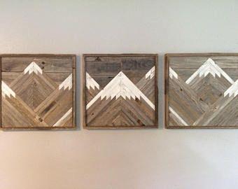 Rustic Mountain Tops Set Of 3 Reclaimed Wood Wall Art Wood