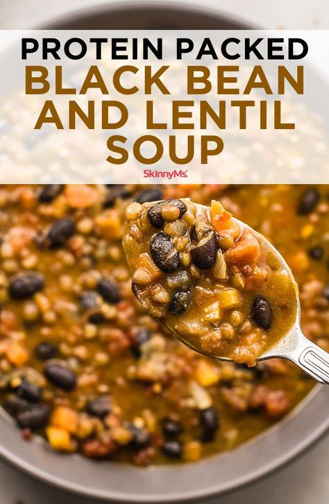 Savory and satisfying, this flavorful, protein-packed Black Bean and Lentil Soup is ideal for Meatless Mondays. Savory and satisfying, this flavorful, protein-packed Black Bean and Lentil Soup is ideal for Meatless Mondays. Plant Based Recipes, Veggie Recipes, Whole Food Recipes, Cooking Recipes, Healthy Recipes, Recipes Dinner, Vegetarian Crockpot Recipes, High Protein Vegetarian Recipes, Plant Based Meals