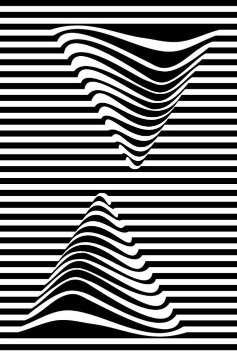 Abstract Black and White Geometric Pattern with Stripes and Waves. Optical Psychedelic Illusion. Wicker Structural Texture.