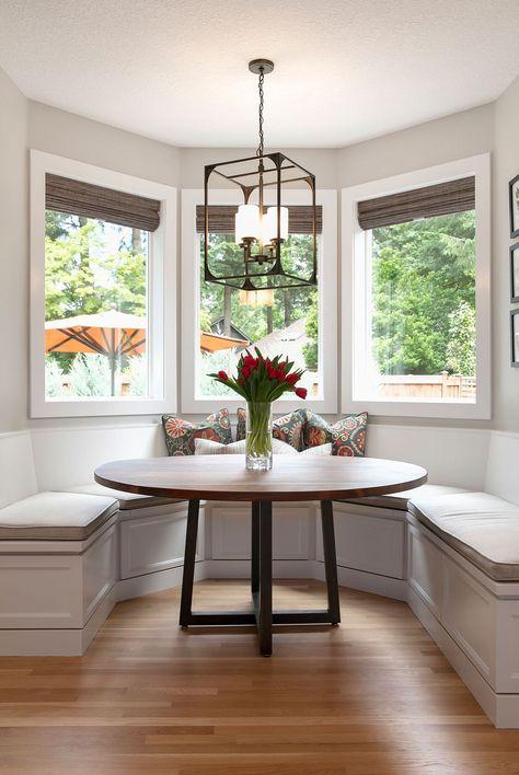Kitchen Nook Bench, Booth Seating In Kitchen, Banquette Seating In Kitchen, Window Seat Kitchen, Kitchen Layout, Kitchen Design, Booth In Kitchen, Kitchen With Bay Window, Bay Window Benches