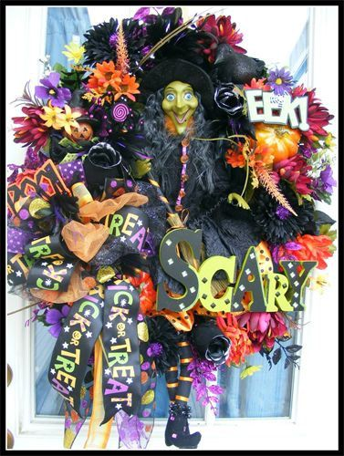 Xl halloween witch theme floral wreath, fall Wreaths Pinterest - luxury halloween decorations
