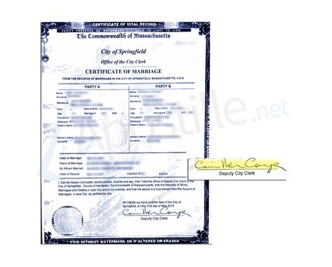 City of Boston Commonwealth of Massachusetts Certificate of Marriage - copy apostille birth certificate massachusetts