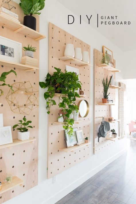 decor style diy giant pegboard diy shelving ideas modern shelf decor how to make shelves for big spaces vintage revivals Handmade Home Decor, Cheap Home Decor, Peg Board Walls, Peg Boards, Diy Peg Board, Peg Board Shelves, Wall Boards, Box Shelves, Pallet Shelves