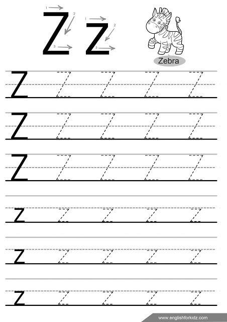 Letter Z Tracing Worksheet, Handwriting Practice Worksheet Writing  Practice Worksheets, Letter Tracing Worksheets, Alphabet Tracing Worksheets