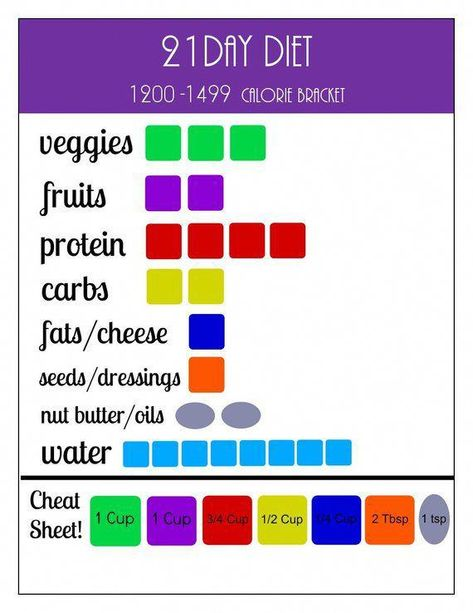 21 Day Portion Control Diet Plan Printables: 1200-1499 Calorie Container Tracking Sheets