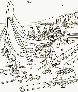 Ship Building Sketch Coloring Pages Vikings For Kids Viking Ship