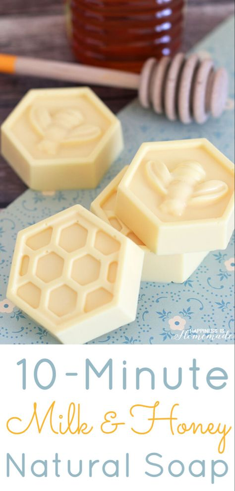 Milk & Honey Natural Soap - This easy DIY Milk and Honey soap can be made in just 10 minutes, and it boasts lots of great skin benefits from the goat's milk and honey! A wonderful quick and easy homemade gift idea! -Happiness Is Homemade Easy Homemade Gifts, Homemade Soap Recipes, Diy Soap Gifts, Happiness Is Homemade, Diy Savon, Honey Soap, Goat Milk Soap, Milk And Honey, Raw Honey