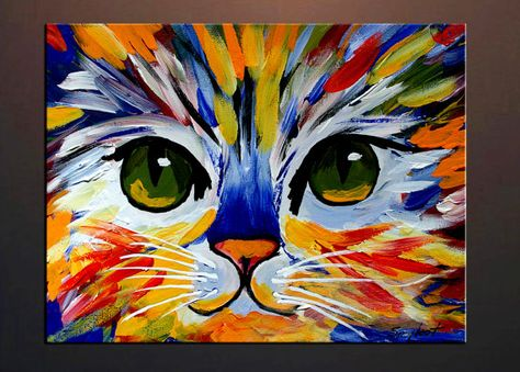 Items similar to Colorful Kitty Abstract Cat Print from my Original Oil Painting on Archival Professional Paper, Cat Art on Etsy