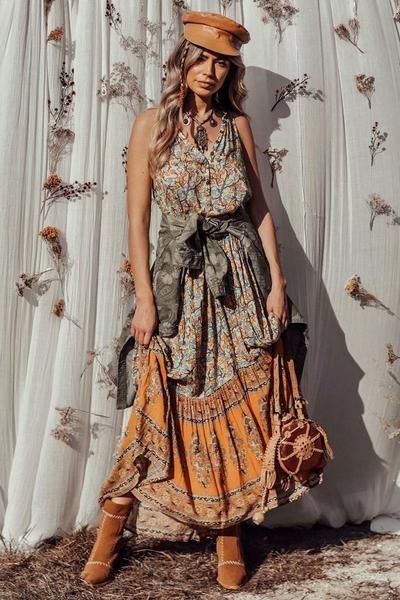 9cfe13970c5dc Elephant Sleeveless Holiday Maxi Long Dress -2color in 2019 | Boho ...