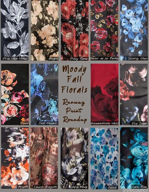 Style Council Blog - Moody Fall Florals - Runway Print Round up