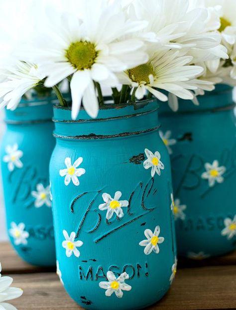 Daisy Mason Jar Set Teal Mason Jars Painted and Distressed | Etsy