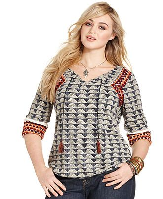 caralyn mirand for lucky brand plus size printed top | model