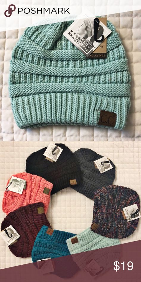 fdb07be3a93ae Mint Messy Bun CC Beanie We have multiple colors available. There is an  opening in the top to pull your pony tail or messy bun through!