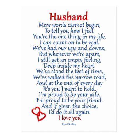 Husband Love Postcard   Zazzle.com