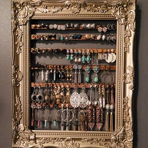 Hanging Earring Organizer, Earring Holder Frame, Custom Earring Holder, Hanging Jewelry Organizer, Creatively Cluttered Earring Display - new season bijouterie Diy Earring Holder, Earring Hanger, Diy Jewelry Holder, Earring Display, Necklace Holder, Bar Necklace, Earring Storage, Jewelry Rack, Jewellery Storage
