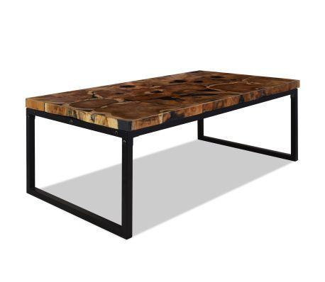 Vidaxl Table Basse Teck Resine 110 X 60 X 40 Cm Vidaxl Ch