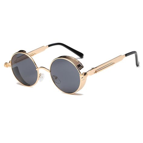 d9074806251c Steampunk Metal Round Retro Sunglasses Goggles-Women