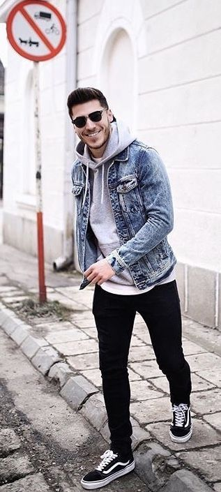 Fall Outfit Inspiration From Liviuch With A Fall Outfit Idea With A Denim Jacket Gray Hooded Sweatshirt Blac Fall Outfits Men Mens Outfits Mens Casual Outfits