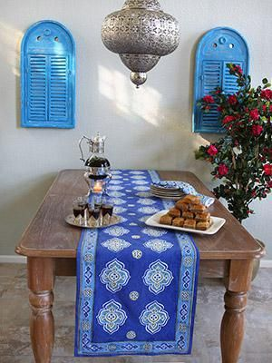 Casablanca Blues Moroccan Theme Style Quatrefoil Table Runner In
